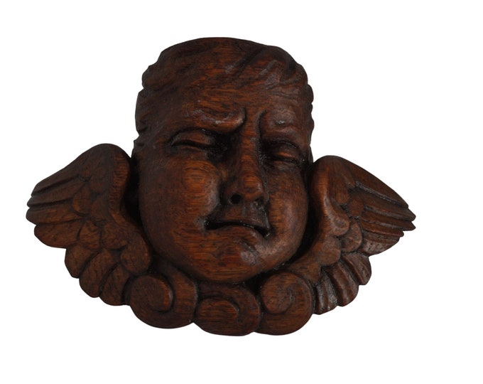 Antique Hand Carved Cherub Putti Head Figurine Candle Sconce, Crying Angel Face Mask Wall Ornament