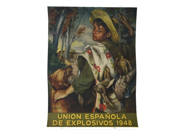 Francisco Ribera Gomez Art Print Poster, Boy Hunter Portrait with Spanish Advertising