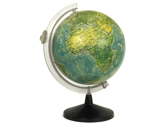 Vintage French World Globe Desk Lamp, Illuminated Earth Map
