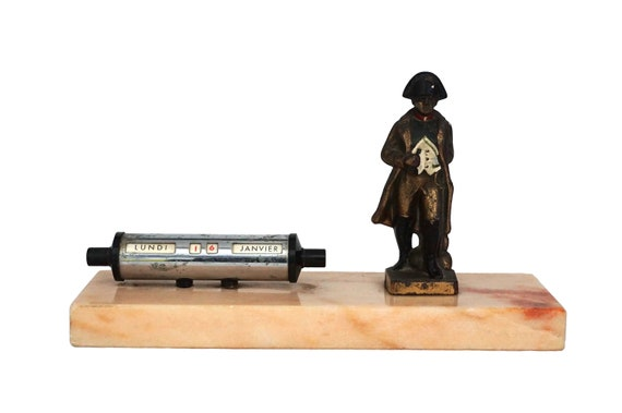 Perpetual Desk Calendar with Napoleon Bonaparte Figurine, French Military Office Decor