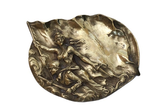 Antique Bronze Pin Dish with French Lady Liberty and Soldier by E Herzig, WWI Military Souvenir