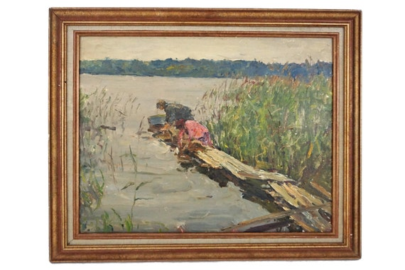 Laundry Washerwomen and River Painting, French Impressionist Country Landscape Art