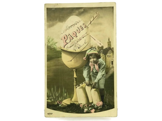 Antique French Easter Postcard with Boy, Windmill and Egg