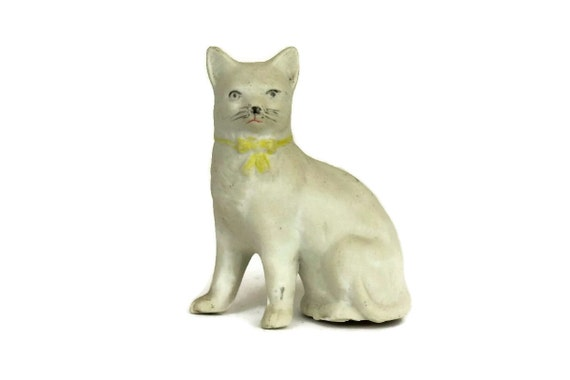 Antique German Porcelain Cat Figurine with Yellow Ribbon. Cat Lover gift.
