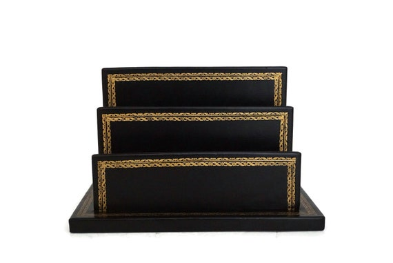 Vintage French Faux Leather Mail Organizer and Letter Holder, Desk and Office Decor