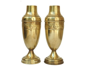 Art Deco Brass Vase Pair with Geometric Flower Design, Antique French Mantle Urns