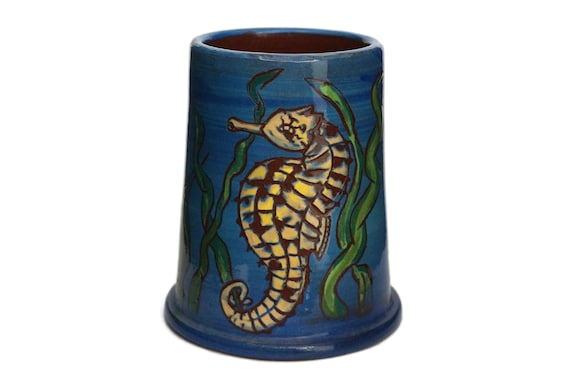 Pottery Seahorse Figure Pencil Holder Cup, French Coastal Ceramic Art