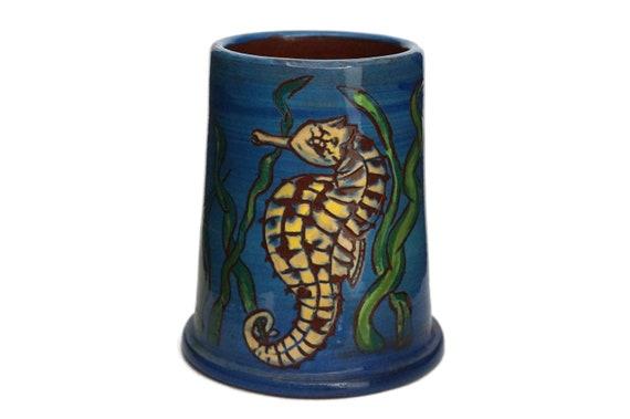 Pottery Seahorse Figure Pencil Holder Cup, French Coastal Ceramic Art