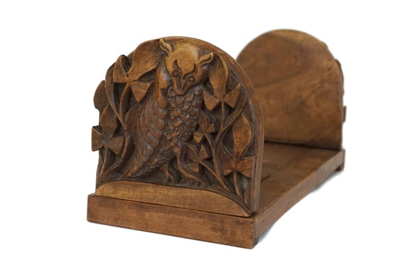 Antique Bats Carved Wood Book Rack, Extending Sliding Book Shelf, Folding Bookends