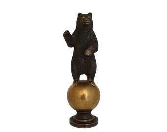 Russian Bronze Bear Figurine Paperweight, Letter Wax Seal Stamp