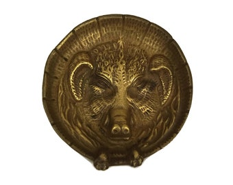 Bronze Wild Boar Figure Coin Dish, Hunting Decor and Gifts, Men Ring Dish and Jewelry Tray