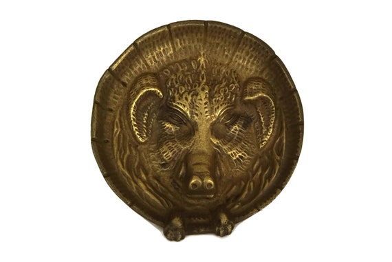 Antique Bronze Wild Boar Figure Coin Dish, Hunting