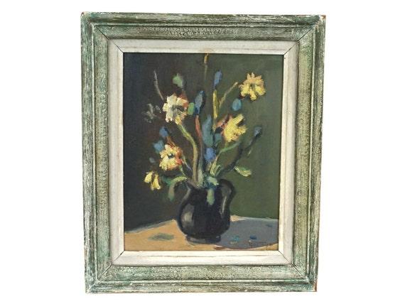 French Flowers in Vase Oil Painting, Original Vintage Framed Floral Art Still Life