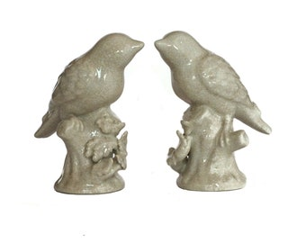Pair of Ceramic Bird Figurines on Branches, Crackle Glazed Pottery