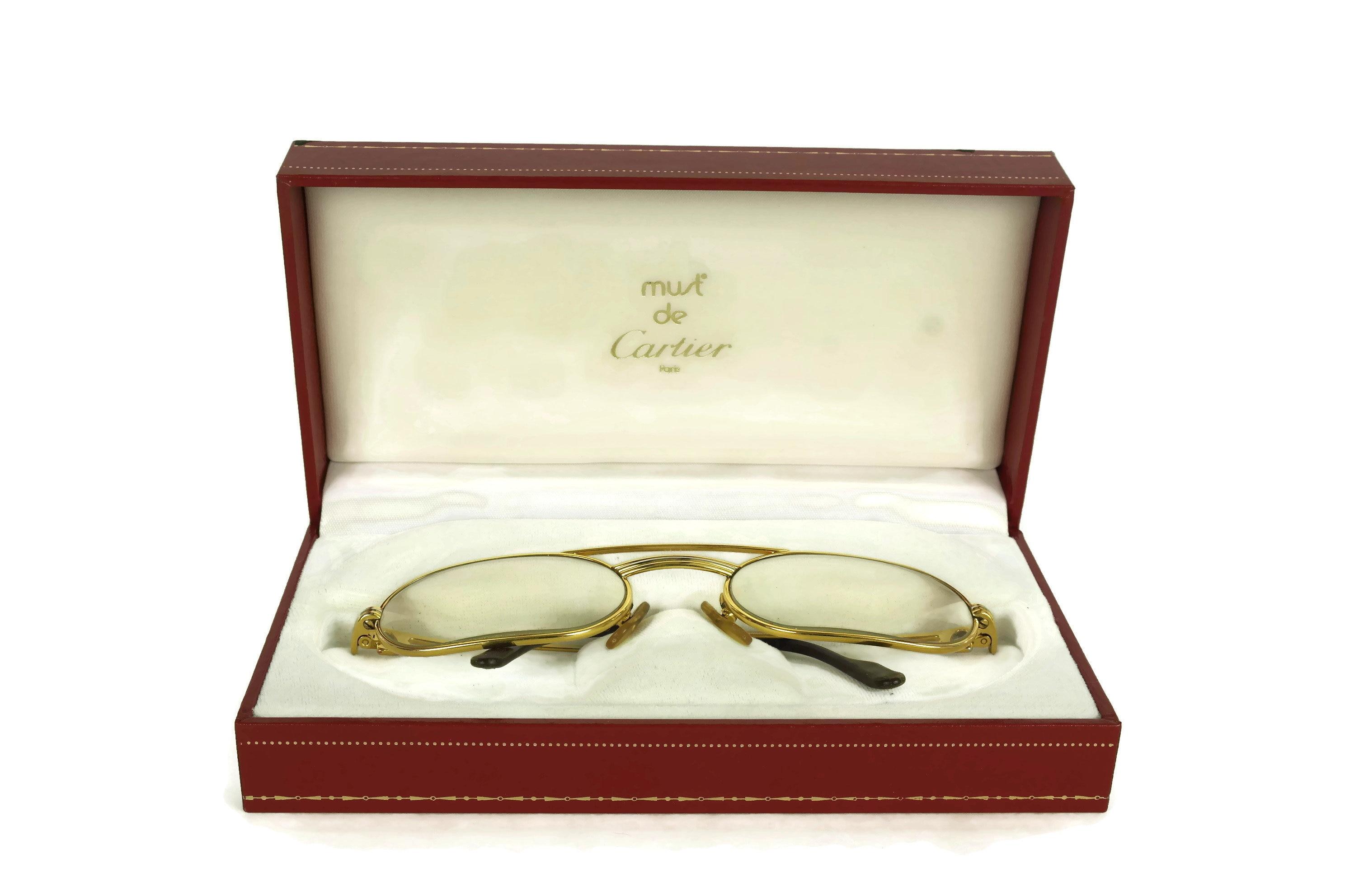 8d47718bed Vintage Cartier Glasses. French Designer Gold Eyeglasses Frames in ...