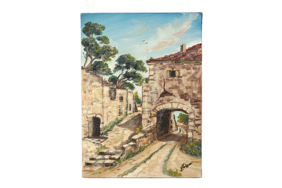 French Provencal Village and Stone House Painting, Original Rustic Country Art