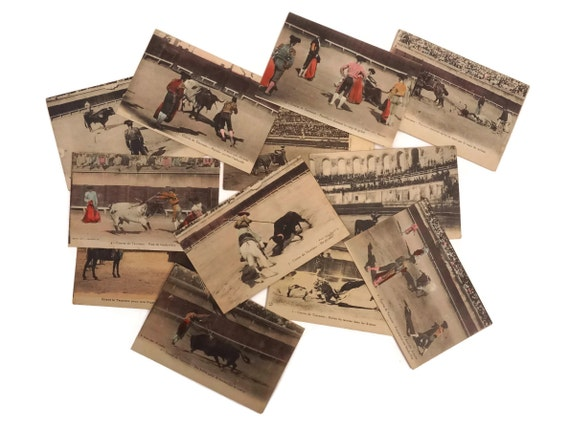 French Antique Bullfighting Postcards, Matador and Bull Post Cards, Scrapbooking Ephemera