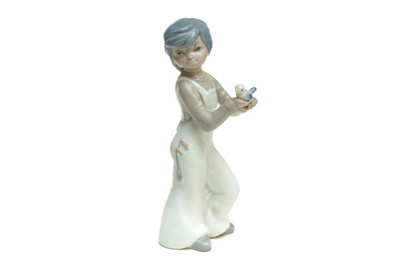 Porcelain Boy and Bird Figurine, Collectible 1970s China Statue