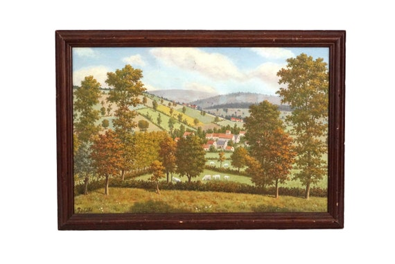 French Country Fall Landscape with Sheep Painting, Antique Original Signed Art