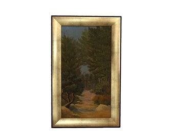 French Forest Path Painting, Scenic Provencal Woodland Landscape Art with Trees