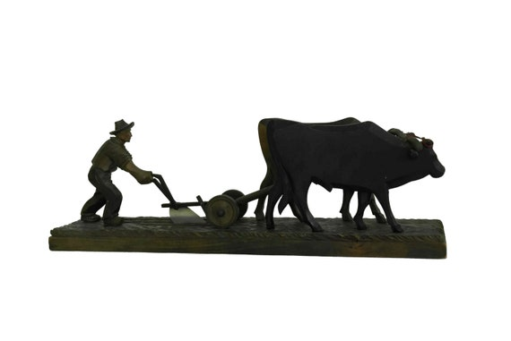 Wooden Art Carving Farmer Figurine with Oxen Plowing a Field, Rustic Farmhouse Decor