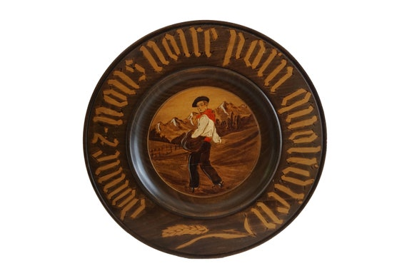 Give Us This Day Our Daily Bread Hand Carved Wood Plate, French Antique Bread Board