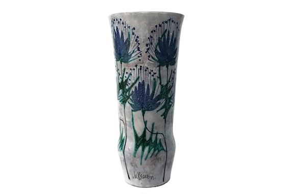 Mid Century Art Pottery Vase with Thistle Flowers, French MCM Ceramic by Le Brescon