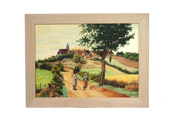 French Country Landscape Painting with Village and Man and Woman with Pig, Rustic Scenic Art
