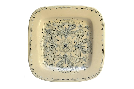 Vintage Ceramic Wall Plate by Grilli Gubbio, Italian Pottery Square Platter