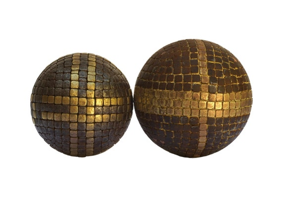 Antique French Petanque Bowling Ball Boules with Nail Studs