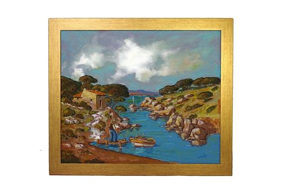 Francis Eula Painting of Mediterranean Coastal Landscape and Fisherman, Original Provencal Signed Art
