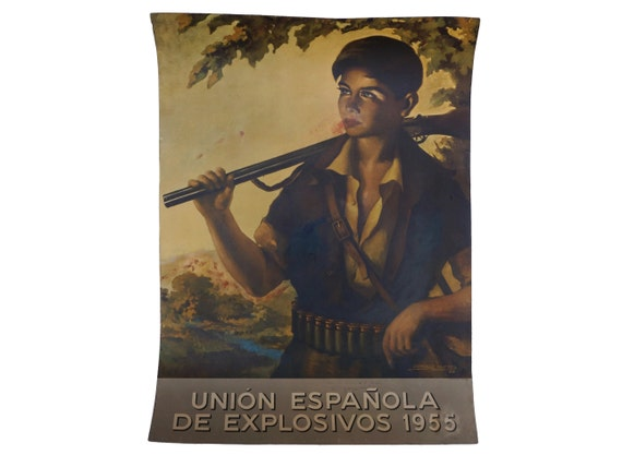 Domingo Huetos Art Print Poster of Boy Hunter Portrait with Spanish Advertising