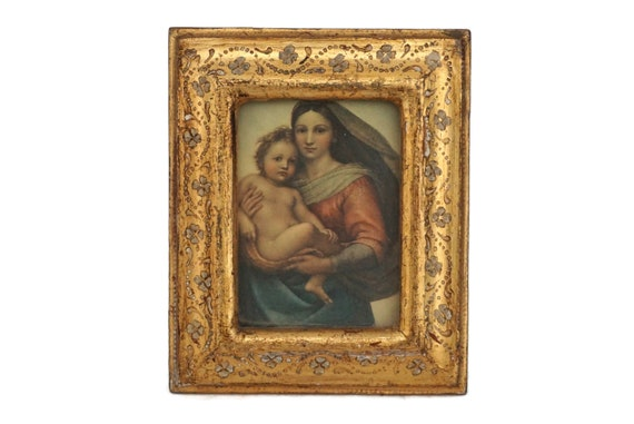Sistine Madonna and Child Portrait Art Print in Florentine Frame, Mary and Baby Jesus Religious Icon