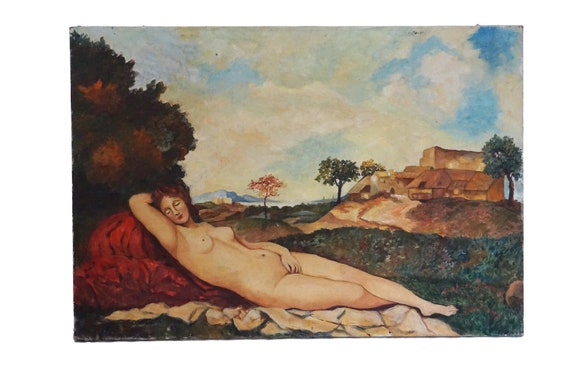 Sleeping Venus by Giorgione Reproduction Painting, Reclining Nude Woman Art Portrait in Country Landscape