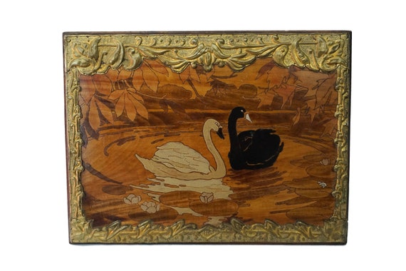 Art Nouveau Swans Wall Hanging, Antique French Brass and Pyrography Wood Panel