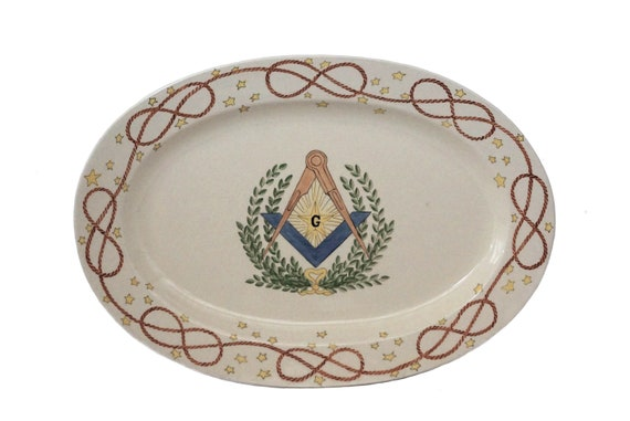 French Faience Masonic Plate, Hand Painted Freemasons Collectible, Mason Lodge Decor