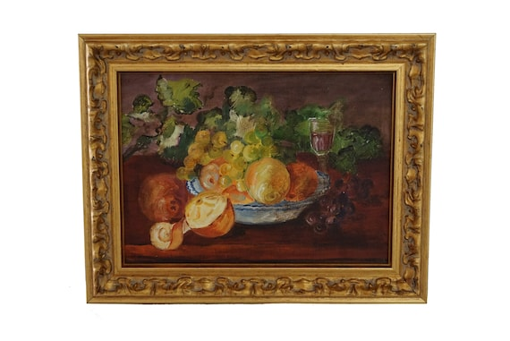 Fruit Still Life Oil Painting with Wine and Grapes, Original French Art and Wall Decor