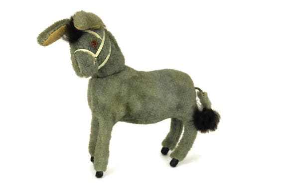 Vintage Donkey Wind-up Toy. Mechanical Animal Figure. Kids Room Decor.