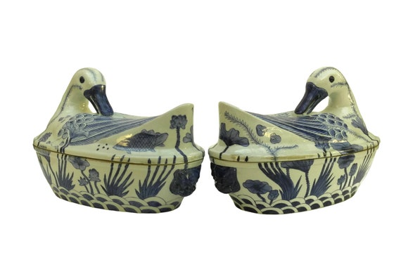 Pair of Antique Chinese Duck Soup Tureens