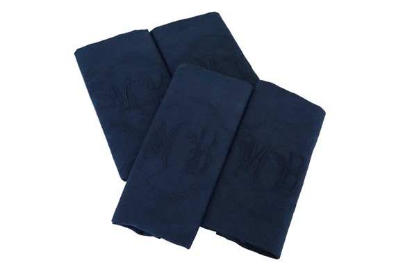 Antique French Linen Napkins, Set of 4, Indigo Blue Monogram Serviettes with Embroidered Initials M B.