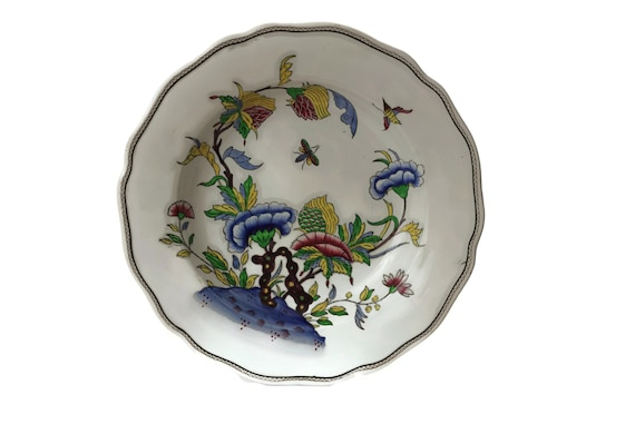 Antique French Faience Soup Plate in Sarreguemines Rouen Pattern