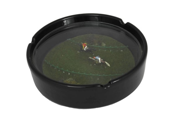Vintage Ashtray with Miniature Horse Race Inclusion