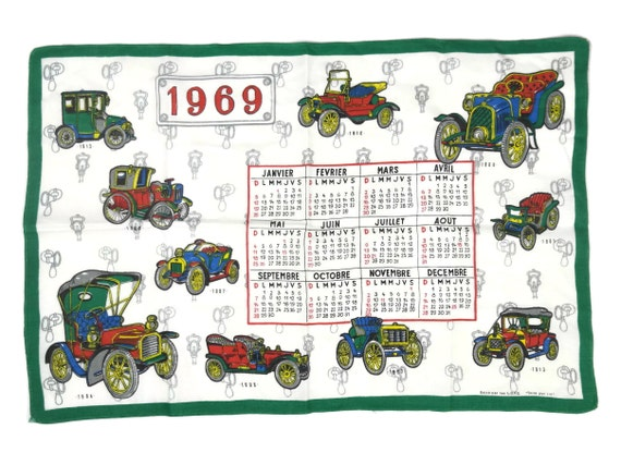 1969 Linen Tea Towel Calendar, French Dish Cloth with Antique Automobile Print