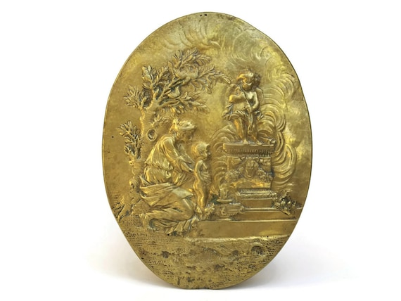 Antique French Brass Wall Plaque with Mother and Child Portrait. Cherub Wall Hanging Medallion. Romantic French Angel Wall Art.