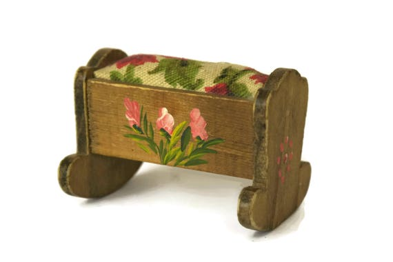 Miniature Crib Wood Pincushion. Collectible Handmade Wooden Baby Cot. French Vintage Flower Craft Room Decor. Gifts For Her.
