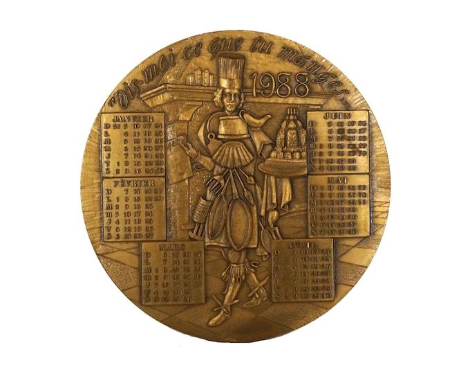 1988 Birthday Calendar Bronze Medal, Vintage French Collectible Coin