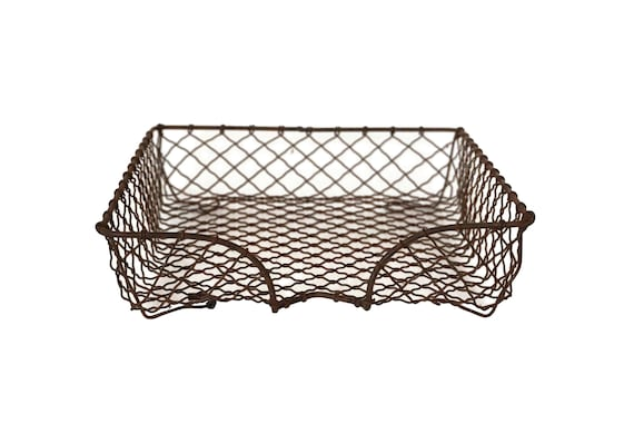 French Wire In & Out Paper Tray, Industrial Office Decor and Document Holder Basket
