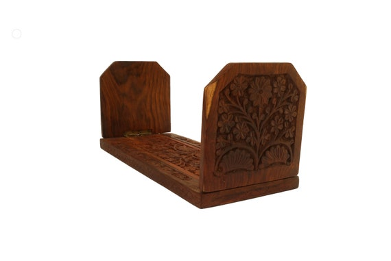 Indian Carved Wood Book Rack with Flowers, Extending Sliding Book Shelf, Folding Bookends
