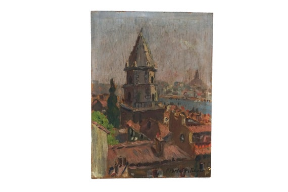 French Church Oil Painting, Bell Tower in Marseille by Fernand Portal-Pelissier