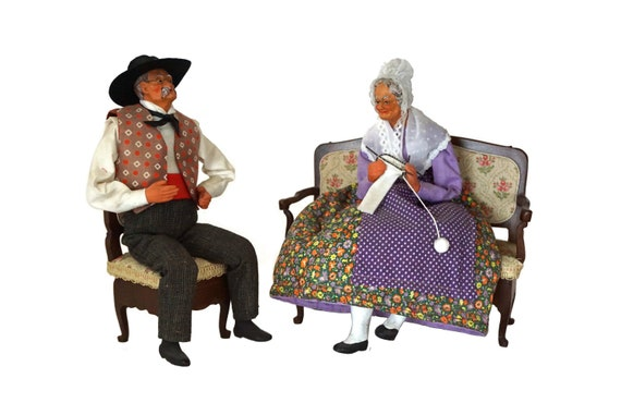 Old Lady and Man Folk Art Dolls, French Santon Couple Figurines with Furniture Jewelry Boxes